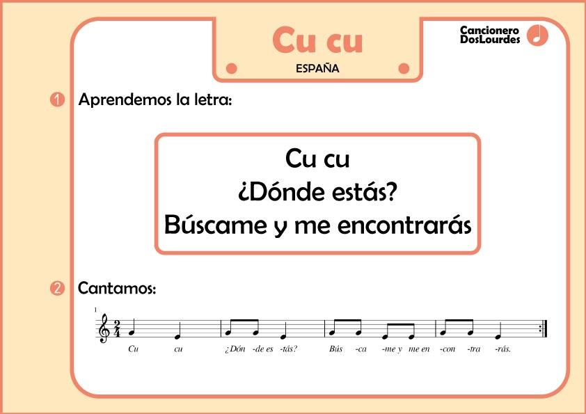 "Ficha lenguaje musical infantil, partitura cancionero español ""cu cu"""