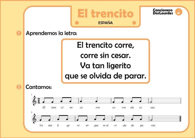 """Ficha partitura y letra canción popular infantil española, """"el trencito"""""""