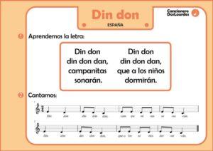 """Ficha cancionero popular """"din don"""", lenguaje musical para niños"""