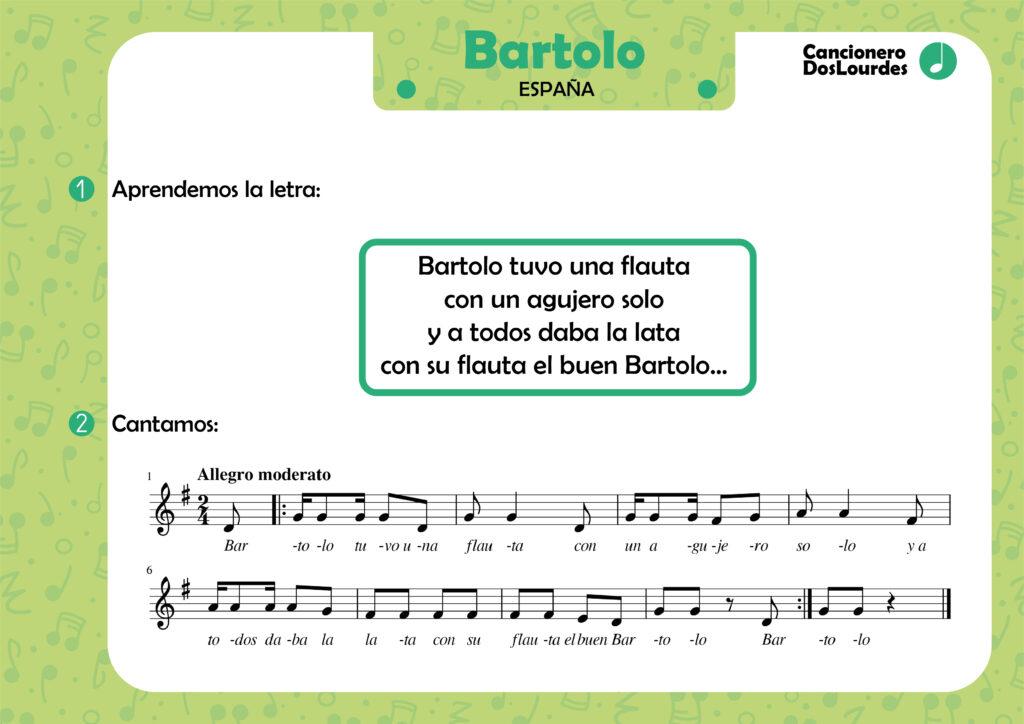 """Canción popular """"Bartolo"""", cancionero infantil, aprender música"""