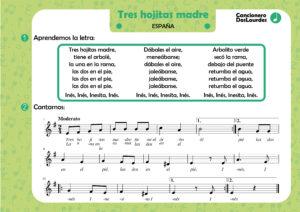 """Canción popular """"Tres hojitas madre"""", cancionero infantil, aprender música"""