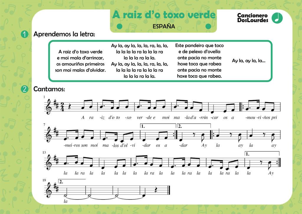 "Canción popular ""A raiz d'o toxo verde"", cancionero infantil, aprender música"