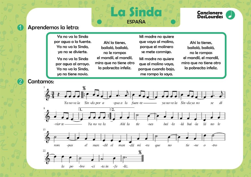 """Canción popular """"La Sinda"""", cancionero infantil, aprender música"""