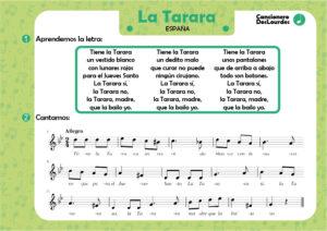 """Canción popular """"La Tarara"""", cancionero infantil partitura y letra"""