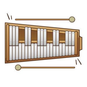 """Ilustración instrumento musical """"carrillon"""", recursos musicales, educación musical"""
