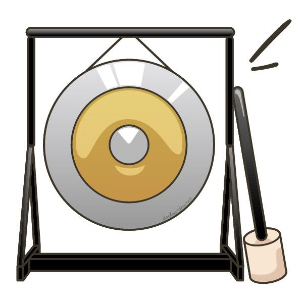 """Ilustración instrumento musical """"gong"""", recursos musicales, educación musical"""