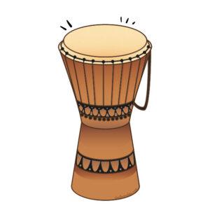 """Ilustración instrumento musical """"yembe"""", recursos musicales, educación musical"""